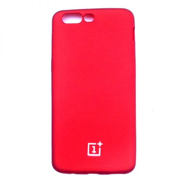 One Plus Five Stylish Velvet Back Case Red Colour