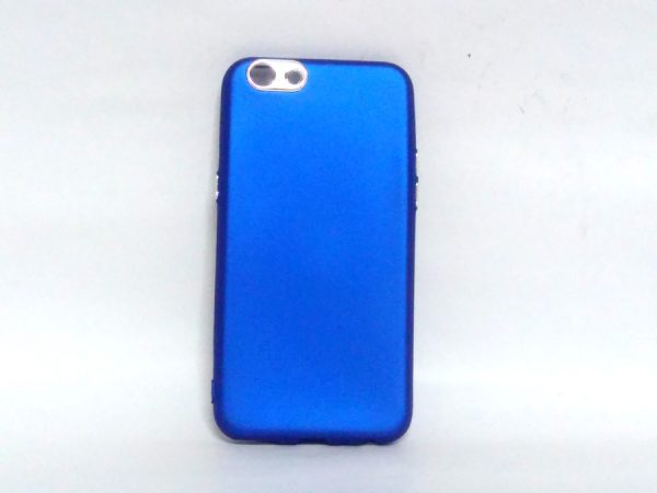Silver Ring Back Cover for Oppo A57 Dark Blue Colour