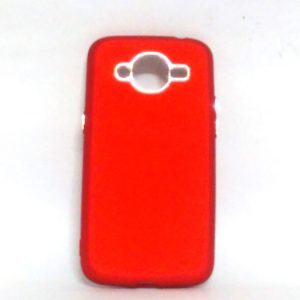 Silver Ring Back Cover for Samsung J210 Red Colour